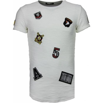 textil Herr T-shirts Justing Exclusive Military Patches Vit