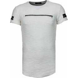 textil Herr T-shirts Justing Exclusief Zipped Chest Wit Vit