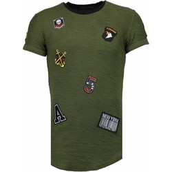 textil Herr T-shirts Justing Exclusive Military Patches Grön