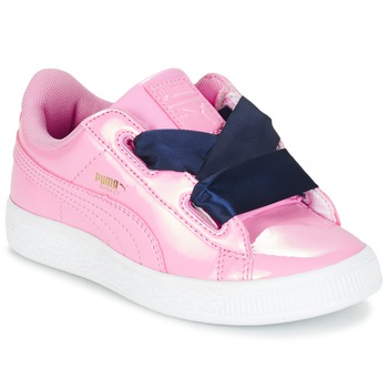 Skor Flickor Sneakers Puma BASKET HEART PATENT PS Rosa / Marin