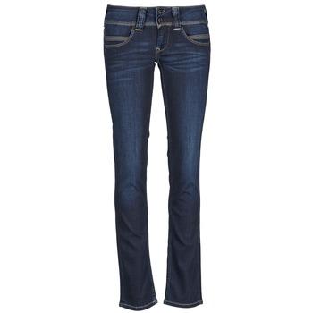 textil Dam Raka byxor Pepe jeans VENUS Blå / H06