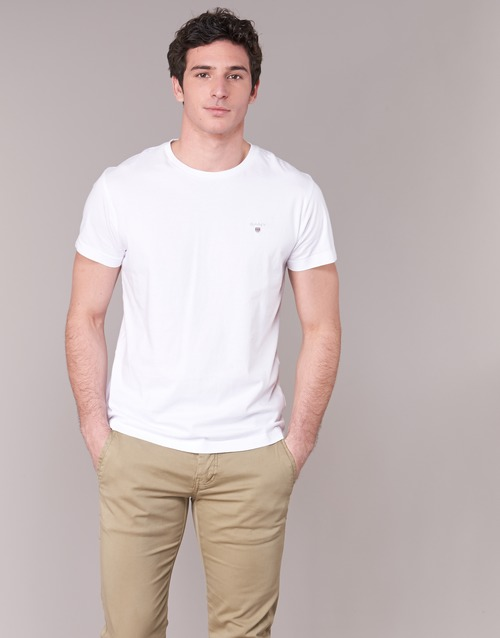 textil Herr T-shirts Gant THE ORIGINAL T-SHIRT Vit