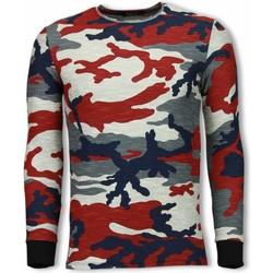 textil Herr Sweatshirts Tony Backer Army Shirt Zipped Back Long Fit Camo Röd
