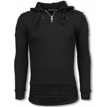 textil Herr Sweatshirts Justing Ripped Shoulder Long Fit Hoodie TYZ Svart