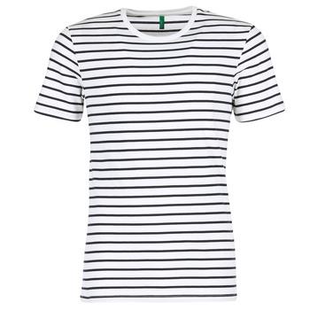 textil Herr T-shirts Benetton MAKOUL Blå / Vit