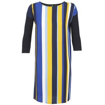 textil Dam Korta klänningar Benetton VAGODA Blå / Gul / Vit