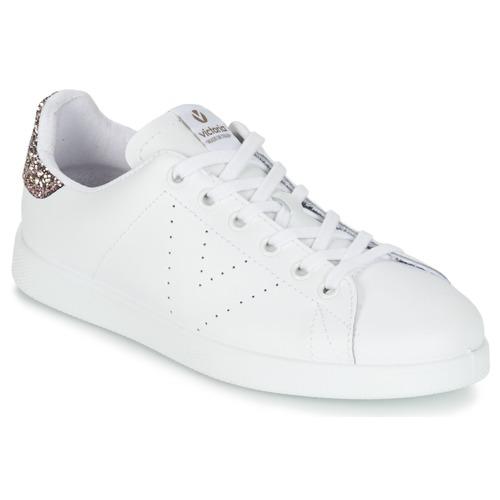 Skor Dam Sneakers Victoria DEPORTIVO BASKET PIEL Vit / Rosa / Glitter