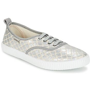 Skor Dam Sneakers Victoria INGLES TEJ PLACA SERPIENTE Silver