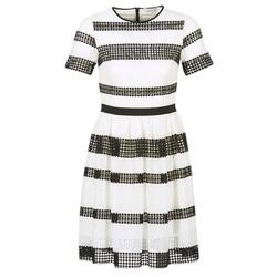 textil Dam Korta klänningar MICHAEL Michael Kors GRAPHIC CR STRIPE DRS Svart / Vit