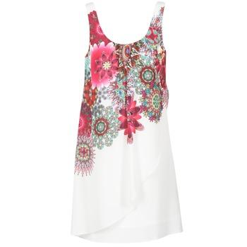 textil Dam Korta klänningar Desigual LIORASA Vit / Röd / Rosa