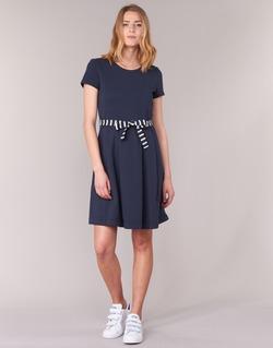textil Dam Korta klänningar Petit Bateau FLARE Marin