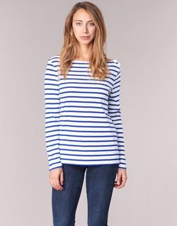 textil Dam Långärmade T-shirts Petit Bateau FIX Vit / Blå