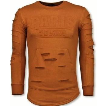 textil Herr Sweatshirts Justing D Stamp PARIS Aged Swea For Men Apelsin Orange