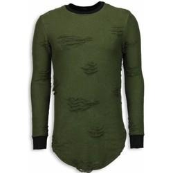 textil Herr Sweatshirts Justing Destroyed Look Long Fit Grön