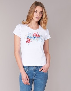 textil Dam T-shirts Pepe jeans AMBER Vit