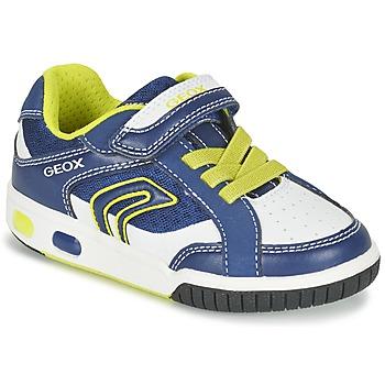 Skor Pojk Sneakers Geox J GREGG A Blå / Citrongul