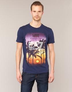 textil Herr T-shirts Emporio Armani EA7 TRAIN GRAPHIC Blå