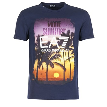 textil Herr T-shirts Emporio Armani EA7 TRAIN GRAPHIC Blå