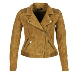 textil Dam Skinnjackor & Jackor i fuskläder Only JOSEPHINE Cognac