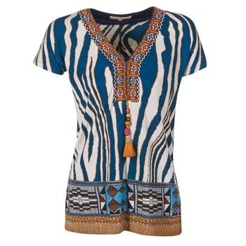 textil Dam T-shirts Derhy JAQUERIE Blå