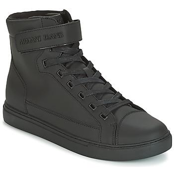 Skor Herr Höga sneakers Armani jeans JEFEM Svart