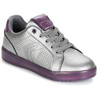 Skor Flickor Sneakers Geox J KOMMODOR G.A Silver / Plommon