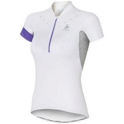 textil Dam T-shirts Odlo Stand-Up Collar Short Sleeve 1/2 Zip Isola Blanc