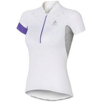 textil Dam T-shirts Odlo Stand-Up Collar Short Sleeve 1/2 Zip Isola 410911-10000 Blanc