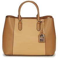Väskor Dam Handväskor med kort rem Lauren Ralph Lauren DRYDEN MARCY TOTE Cognac / Kamel