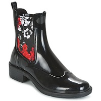 Skor Dam Boots Desigual MID RAIN BOOT BN&RED Svart