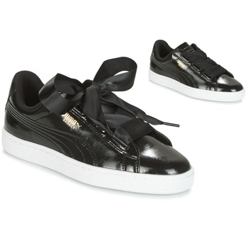 Skor Flickor Sneakers Puma Basket Heart Glam Jr Svart