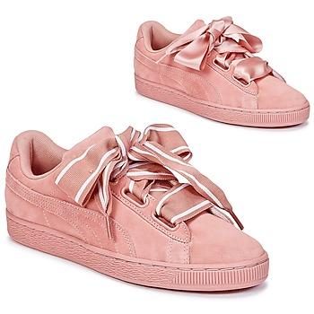 Skor Dam Sneakers Puma Basket Heart Satin Rosa