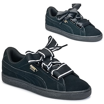 Skor Dam Sneakers Puma Basket Heart Satin Svart