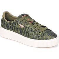 Skor Dam Sneakers Puma Basket Platform Bi Color Kaki