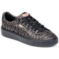 Skor Dam Sneakers Puma Basket Platform Bi Color Svart / Rosa