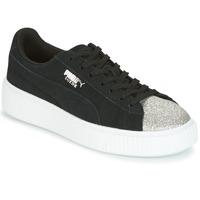 Skor Dam Sneakers Puma SUEDE PLATFORM GLAM JR Svart / Silverfärgad