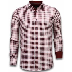 textil Herr Långärmade skjortor Tony Backer Italienska Rutiga Röd