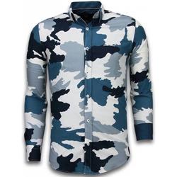 textil Herr Långärmade skjortor Tony Backer Prickig Skjorta Skjorta Mönstrad B Blå
