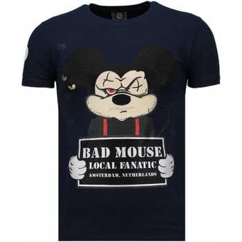 textil Herr T-shirts Local Fanatic State Prison Bad Mouse Rhinestone Blå