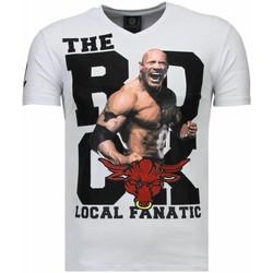 textil Herr T-shirts Local Fanatic The Rock Rhinestone Vit