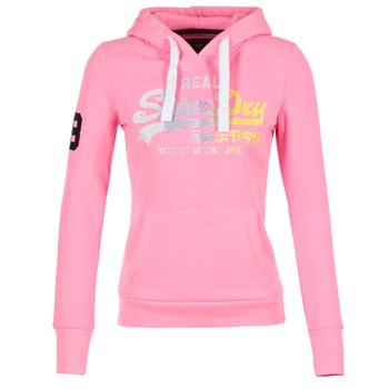 textil Dam Sweatshirts Superdry VINTAGE LOGO STRIPE FADED Rosa