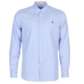 textil Herr Långärmade skjortor U.S Polo Assn. CALE Blå