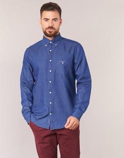 textil Herr Långärmade skjortor Gant THE INDIGO SHIRT Blå