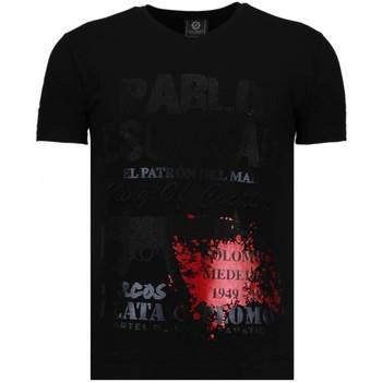 textil Herr T-shirts Local Fanatic Pablo Escobar Narcos Rhinestone Svart