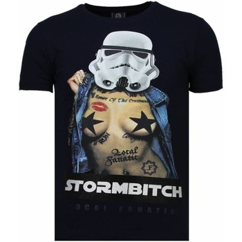 textil Herr T-shirts Local Fanatic Stormbitch Rhinestone Blå