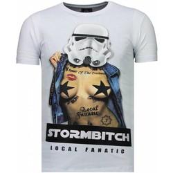 textil Herr T-shirts Local Fanatic Stormbitch Rhinestone Vit