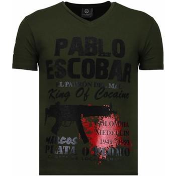 textil Herr T-shirts Local Fanatic Pablo Escobar Narcos Rhinestone Grön