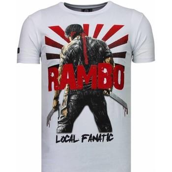 textil Herr T-shirts Local Fanatic Rambo Shine Rhinestone Vit