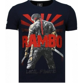 textil Herr T-shirts Local Fanatic Rambo Shine Rhinestone Blå