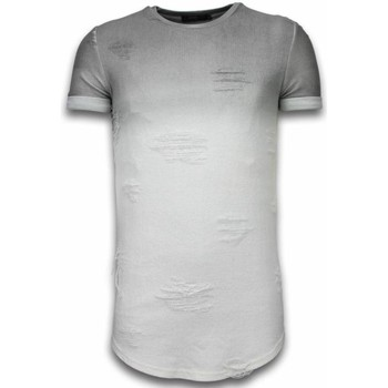 textil Herr T-shirts Justing Flare Effect Long Fit Dual Colored Vit, Grå